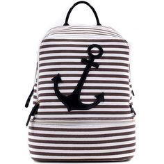 Dasein Anchor Canvas Striped Backpack with Adjustable Shoulder Straps ($30) ❤ liked on Polyvore