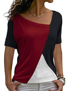 Looking for Womens Shirts Casual Batwing Sleeve Blouses Patchwork Color Tunic Tops ? Check out our picks for the Womens Shirts Casual Batwing Sleeve Blouses Patchwork Color Tunic Tops from the popular stores - all in one. Kleidung Design, Cheap Womens Tops, Trendy Tops, T Shirts For Women, Clothes For Women, Casual Shirts, Tee Shirts, Fall Shirts, Blouse Designs