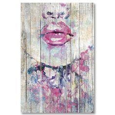 Tableau décoratif effet bois demi visage de femme
