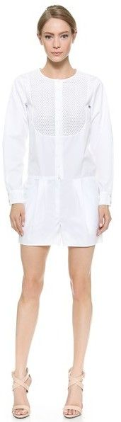 $447, White Eyelet Playsuit: Nina Ricci Long Sleeve Romper. Sold by shopbop.com. Click for more info: https://lookastic.com/women/shop_items/244752/redirect