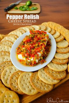 Pepper Relish Cheese Spread : a 10-minute appetizer | Kitchen Cents Hot Pepper Jelly, Pepper Relish, Canning Recipes, Crockpot Recipes, Healthy Recipes, Cheese Spread, Holiday Appetizers, Stuffed Hot Peppers, Sweet And Spicy