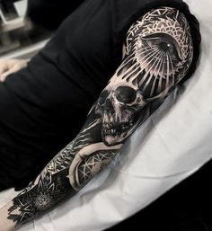 Skull with eye full sleeve tattoo - 95 Awesome Examples of Full Sleeve Tattoo Ideas