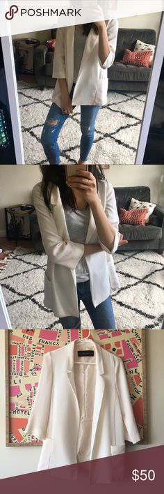 """Zara Lightweight Spring Summer Blazer Jacket Brand new never worn. Tags cut off. I love this style but it's not really """"my look"""" anymore. Such a pretty fabric- kind of like crepe. Lined. TAGGED AS BRAND NEW WITH TAGS BUT NO TAGS ANYMORE. Approx 26"""" long, and 18"""" across laying flat with it """"closed"""" (touching) in front. 98% polyester and 2% elastane Zara Jackets & Coats Blazers"""