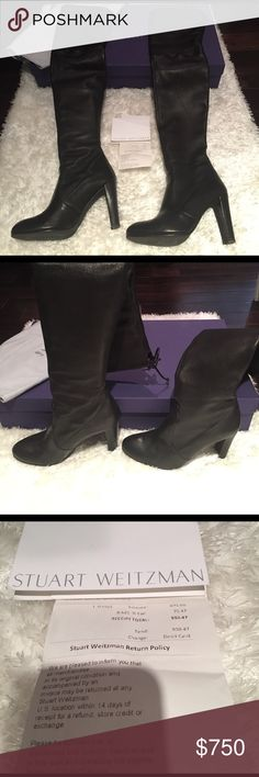 $900 Stuart Weitzman highland over knee boots blk Amazing Black leather highland Stuart Weitzman over the knee boots. The leather is incredibly soft. A lambskin leather. They have been worn a few times and have some light scuffing. See all the photos. Otherwise in excellent used condition. Comes with original receipt box and dust bag. Retails $900 Stuart Weitzman Shoes Over the Knee Boots