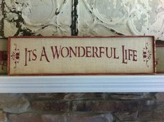 It's A Wonderful Life Christmas sign on natural burlap with wood frame customize