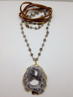 Half and Half-Leather and Labradorite Wire Wrap Chain Necklace with Agate Pendant by Goldenstrand Jewelry