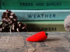 Handcrafted polymer clay bead finished with a coat of clear varnish and mounted on Silver Plated pin brooch.  Add a touch of spice to your lapel with this Chilli Pin Badge.  Approx. 2cm in size Mounted on Silver Plated tie pin posts with clutch back Supplied on branded card.  Perfect way to celebrate the allotment, garden, vegetables or simply as a quirky gift for a friend