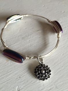 Wire Wrapped Purple Luster Glass Bead Bangle Bracelet Antiqued Silver with a Dahlia Charm by RaeLynnJewelry on Etsy