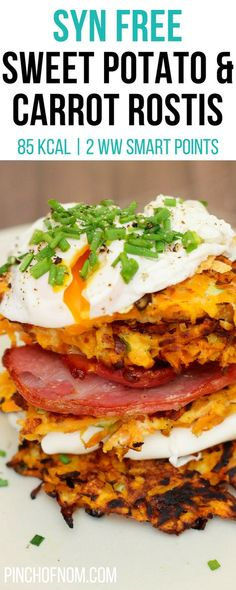 Syn Free Sweet Potato and Carrot Rostis | Pinch Of Nom Slimming World Recipes 85 kcal | Syn Free | 2 Weight Watchers Smart Points Slimming World Vegetarian Recipes, Slimming World Dinners, Slimming World Breakfast, Slimming World Diet, Slimming Eats, Slimming Recipes, Vegetarian Meals, Slimming World Lunch Ideas, Slimming World Sweets
