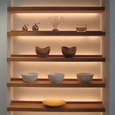 lighting шкаф, дом и гостиная. Recessed Shelves, Wood Shelves, Glass Shelves, Display Shelves, Artwork Display, Shelving, Bookshelf Lighting, Display Lighting, Lighting Ideas