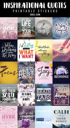 Free Inspirational Quotes Printable Planner Stickers {Set 3}
