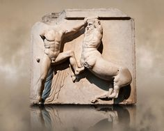 Sculpture of Lapiths and Centaurs battling from the Metope of the Parthenon on the Acropolis of Athens. Also known as the Elgin marbles. Ancient Greek Sculpture, Ancient Greek Art, Ancient Greece, Ancient History, Art History, Roman Sculpture, Horse Sculpture, Parthenon Frieze, Elgin Marbles
