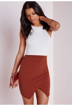 Asymmetric Scuba Mini Skirt Rust High Street Brands, Winter Skirt, Missguided, High Waisted Skirt, Mini Skirts, Black Leather, Fashion Outfits, Rust, Lady