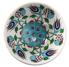 Tile Bowl with Pomegranate and Tulip Motif- Nar ve Lale Motifli Çini Kase Tile Bowl with Pomegranate and Tulip Motif - Pottery Painting, Ceramic Painting, Pottery Art, Marble Art, Tile Art, Cool Curtains, Mandala, Pottery Designs, Ceramic Plates