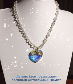 """Angelic Crystalline Heart - a stunning Priestess piece to awaken your Angelic self ✨ Made with stunning Swarovski crystals & 28mm Swarovski Crystal Heart.Made to order. 18"""" - $65.00 or 28"""" - $75.00 in length. #crystallineheart #swarovskicrystals  #angelicjewellery #goddess #handmadejewellery"""