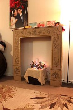 cardboard faux fireplace - Christmas Dorm Decorations