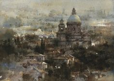 """View of Assisi"" By Chien Chung-Wei (also known as Prince Hibari) (忠威), from Taiwan - watercolor -"