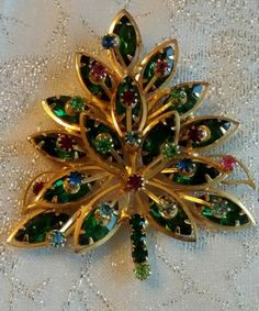 Vintage Alice Caviness Brooch Pin Gold Emerald Christmas Tree Signed