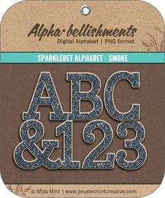 Sparklebet Alphabet - Smoke - $2.25 : Peppermint Creative, Digital Scrapbook Supplies