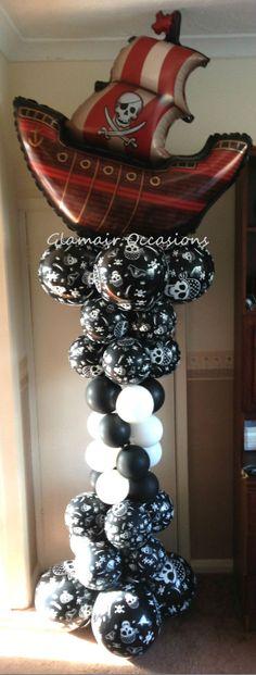 Pirate theme balloon column 6ft children's partys