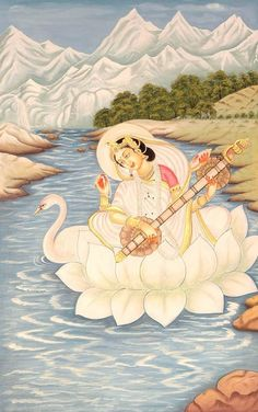 Goddess Saraswathi is the Hindu goddess of education, music, arts, knowledge and learning. Find a good collection of Goddess Saraswati images & wallpapers. Indian Goddess, Goddess Art, Saraswati Painting, Tantra, Saraswati Goddess, Durga Maa, Art Magique, World Mythology, India Art