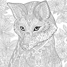 Stock vector of 'Stylized cartoon wild fox animal and hibiscus flowers. Freehand sketch for adult anti stress coloring book page with doodle and zentangle elements.'