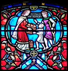 detail/Acts of Mercy window  Narthex windows - Westminster Presbyterian Church  724 Delaware Avenue, Buffalo, NY  Dedicated:1950  Design, Fabrication: Burnham Studios