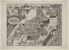 """c.1900s """"Comstock Lode, Mining Town, Nevada Map, Lithograph"""" (Antique,Vintage,Old,B&W) Reproduction Photograph-Photo-Print. Frame it!"""