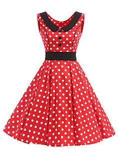 Women's+Rockabilly+Vintage+Dress+Red+White+Polka+Dot+Round+Neck+Knee-length+Sleeveless+Cotton+All+Seasons+Mid+Rise+–+AUD+$+55.20