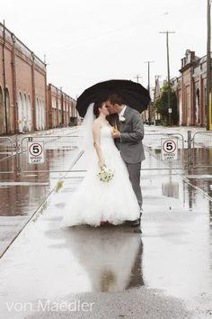 Wedding photography in the rain.