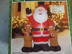 Inflatable Airblown Christmas Santa & Reindeer 4 ' New