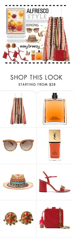 """""""Easy Breezy"""" by conch-lady ❤ liked on Polyvore featuring Apiece Apart, COSTUME NATIONAL, Valentino, Yves Saint Laurent, Etro, Gucci, Chanel, Serpui, alfrescodining and alfrescostyle"""