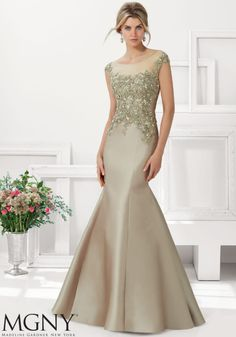 Larissa Satin Evening Gown Beaded Lace Appliques