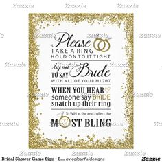 bridal shower game sign 85x11