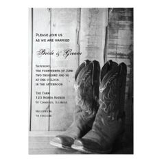 "Rustic Cowboy Boots Country Wedding Invitation 5"" X 7"" Invitation Card"