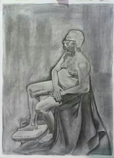 Charcoal and chalk life drawing