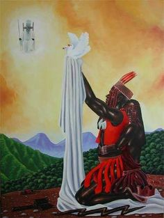 Supported by his wife Oya (the Orisha of transformation), Shango (Orisha of the Free Will) presents two doves (symbol of freedom/flight in peace thru duality) to the King of the Orisha, Obatala (Orisha of moral living).