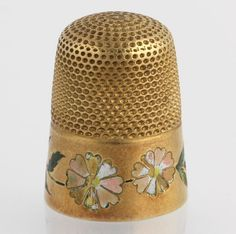 Vintage Thimble Enameled 14k Yellow Gold Sewing Floral Flower Monogrammed | eBay