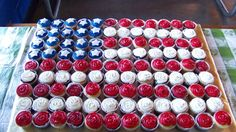 Cupcakes in the shape of the American Flag.Made for a military man's retirement BBQ.Chocolate & vanilla cupcakes with vanilla buttercream and fondant stars.20 blue CC's,50 red CC's & 38 white CC's for a grand total of 108 CC's
