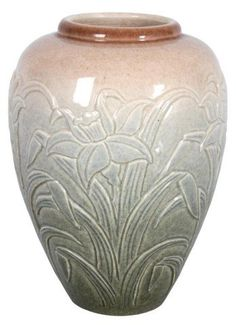 Pottery Vase With Daffodils : Lot 388
