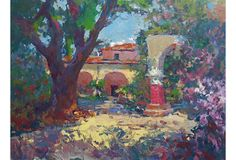 San Juan Capistrano, 1970s  ||  A period Impressionist-style oil showing the sunlit mission buildings of San Juan Capistrano surrounded by bright flowers. Painted by Robert M. Caples (American, 1918-1996), a listed California artist and the recipient of numerous prestigious prizes and juried awards including two gold medals from the California Art Club, (1976, 1977). Painted circa 1975. Accompanied by a Certificate of Authenticity. 24'' L x 18'' H. Unframed.