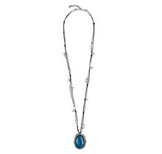 Long women's necklace, with blue resin pendant, silver-plated beads and brown cotton cord.