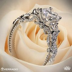 This 3 Stone Engagement Ring is from the Verragio Insignia Collection. Again, out of the budget, but I like the detail.