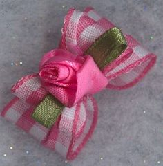 Gingham dog bow