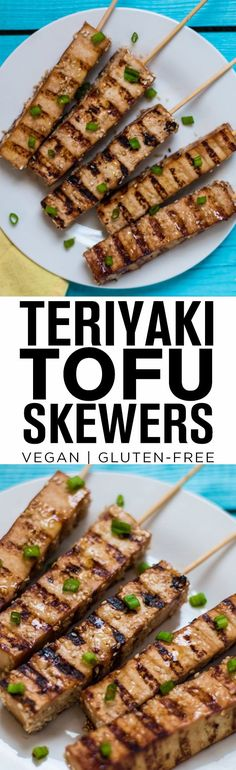Easy Tofu Teriyaki Skewers These Teriyaki Tofu Skewers make a great appetizer or protein addition to your favorite veggie dish—vegan and gluten-free. Tofu Recipes, Whole Food Recipes, Vegetarian Recipes, Cooking Recipes, Healthy Recipes, Vegetarian Grilling, Skewer Recipes, Healthy Grilling, Tofu Dishes