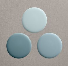 Shore: Accent wall in living room to match office?? Shore Paint Collection - Shown (clockwise from top) in atmosphere blue, shore and dusk