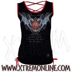 To de tirantes con cordón cruzado Noble Dragon. Spiral. Echa un vistazo a nuestra colección de ropa gótica y de fantasía.