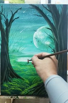 Canvas Painting Tutorials, Acrylic Painting Canvas, Diy Canvas Art, Moon Painting, Forest Painting, Landscape Art, Landscape Paintings, Art Painting Gallery, Sky Art