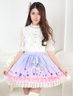 Sweet Lolita Skirt Unicorn Printed SK Lolita Skirt