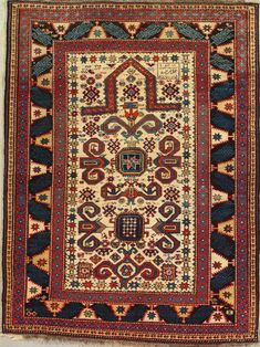 Antique Extremely Rare Shirvan Rug- Antique Circa:	1890  Sizes:	3.10X5.3  Perpedil Prayer Rug Dated 1307 = 1890